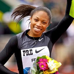 "<div class=""caption-credit""> Photo by: howaboutwe</div><div class=""caption-title"">Allyson Felix</div><b>Allyson Felix</b> <br> If anybody asks, those flowers are from us."