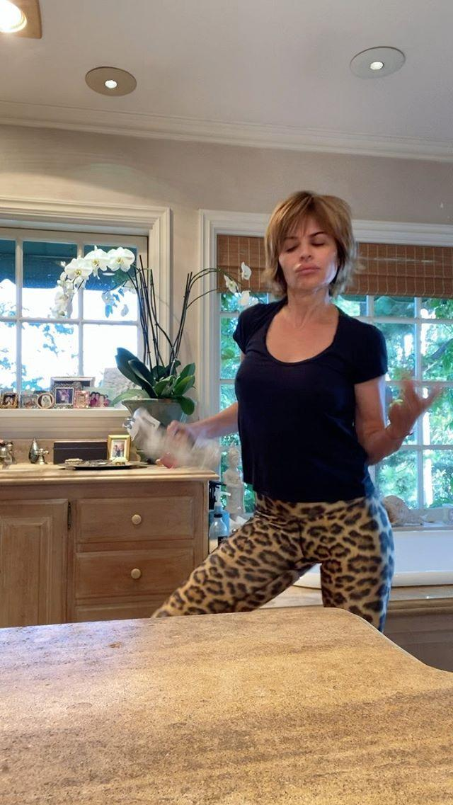 """<p>The <em>Dancing with the Stars</em> alumna took her kitchen groove session to a whole new level thanks to some gifted percussion goodies from pal <a href=""""https://www.instagram.com/bradgoreski/"""" rel=""""nofollow noopener"""" target=""""_blank"""" data-ylk=""""slk:Brad Goreski"""" class=""""link rapid-noclick-resp"""">Brad Goreski</a>. Worth watching for the booty slaps alone. </p>"""
