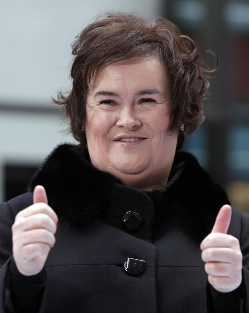 "FILE - Susan Boyle appears on the NBC ""Today"" television program in New York in this Nov. 23, 2009 file photo. She has sold millions of records, received an honorary doctorate, sung for Pope Benedict XVI and performed in Las Vegas. A stage musical about her life has played to enthusiastic crowds across Britain and is headed for Australia, and in November 2012 she releases her fourth album, ""Standing Ovation."" (AP Photo/Richard Drew, File)"
