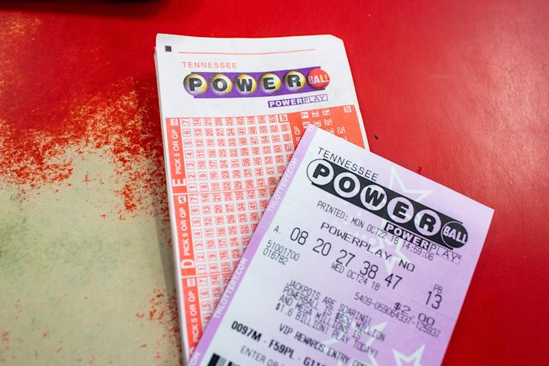 Powerball tickets sit at the counter of Shell gas station off of S Riverside Dr Monday, Oct. 22, 2018, in Clarksville, Tenn.