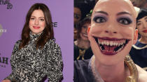 """Hathaway boasts a bald head and a Joker-esque smile within a supernaturally-extended maw in her performance as the terrifying Grand High Witch in Robert Zemeckis's adaptation of Roald Dahl novel <em>The Witches</em>. <a href=""""https://uk.movies.yahoo.com/anne-hathaway-terrifying-the-witches-role-132819458.html"""" data-ylk=""""slk:Nightmare fuel;outcm:mb_qualified_link;_E:mb_qualified_link;ct:story;"""" class=""""link rapid-noclick-resp yahoo-link"""">Nightmare fuel</a>, for sure.(Credit: George Pimentel/Getty/Warner Bros)"""