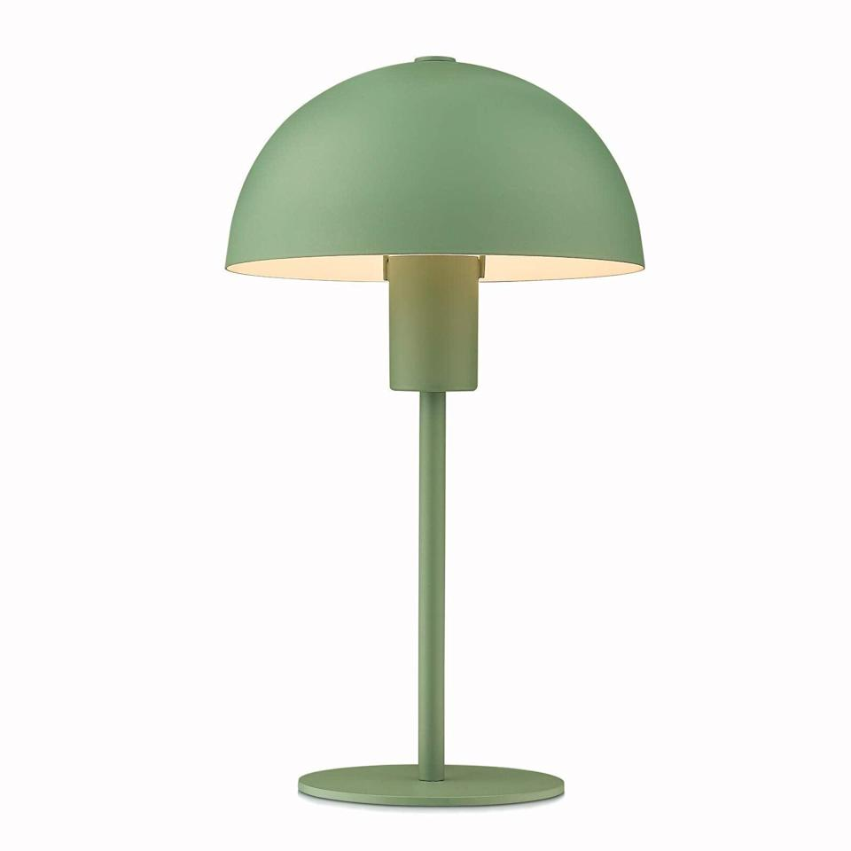"""<h3>Powdered Metal Table Lamp</h3><br>Ease into the mushroom-lamp movement by trying out this subtler style that's treated with a groovy green powdered-metal finish. <br><br><strong>HWH INVESTMENT</strong> Powdered Metal Table Lamp, $, available at <a href=""""https://amzn.to/2NyGJbZ"""" rel=""""nofollow noopener"""" target=""""_blank"""" data-ylk=""""slk:Amazon"""" class=""""link rapid-noclick-resp"""">Amazon</a>"""