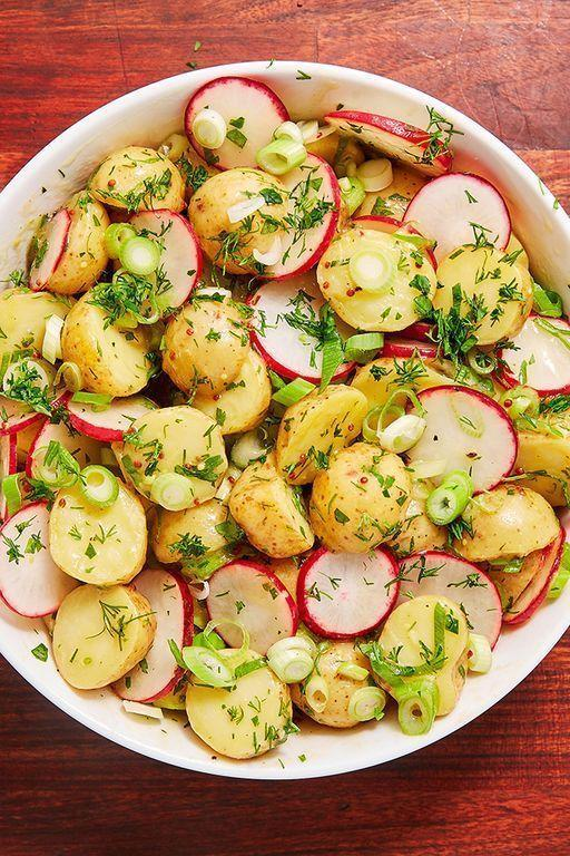 "<p>A classic potato salad generally consists of lashings of mayonnaise, but if you're looking to eliminate that mayonnaise for a <a href=""https://www.delish.com/uk/healthy-recipes/"" rel=""nofollow noopener"" target=""_blank"" data-ylk=""slk:healthier"" class=""link rapid-noclick-resp"">healthier</a> version, or in need of a <a href=""https://www.delish.com/uk/vegan-recipes/"" rel=""nofollow noopener"" target=""_blank"" data-ylk=""slk:vegan"" class=""link rapid-noclick-resp"">vegan</a> potato salad, then this recipe is for you. Simply combining a few ingredients to make a gorgeous salad dressing, we've added dill, parsley and radish to stir through with the potatoes. </p><p>Get the <a href=""https://www.delish.com/uk/cooking/recipes/a30438329/potato-salad/"" rel=""nofollow noopener"" target=""_blank"" data-ylk=""slk:Healthy Potato Salad"" class=""link rapid-noclick-resp"">Healthy Potato Salad</a> recipe.</p>"