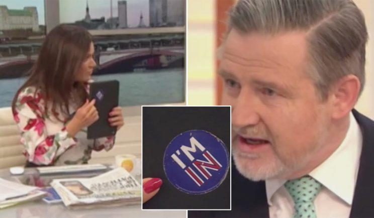 Labour MP Barry Gardiner had a Remain sticker on his iPad (ITV)