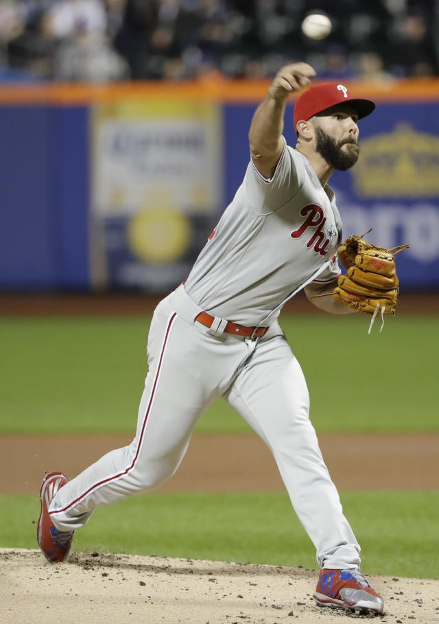 Philadelphia Phillies' Jake Arrieta delivers a pitch during the first inning of a baseball game against the New York Mets, Monday, April 22, 2019, in New York. (AP Photo/Frank Franklin II)