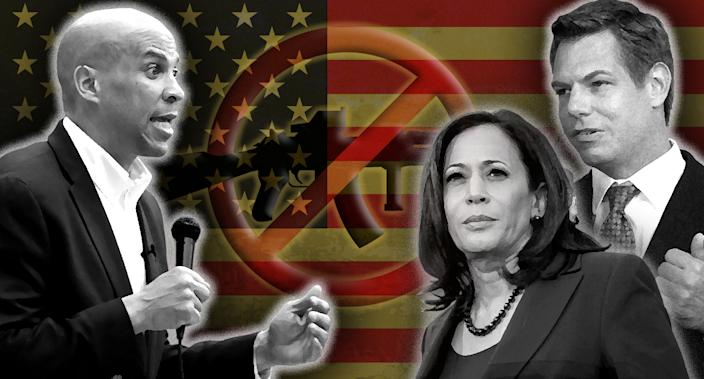 Cory Booker, Kamala Harris and Eric Swalwell. (Photo illustration: Yahoo News; photos: Charlie Neibergall/AP, Elijah Nouvelage/Reuters, Jeff Chiu/AP)