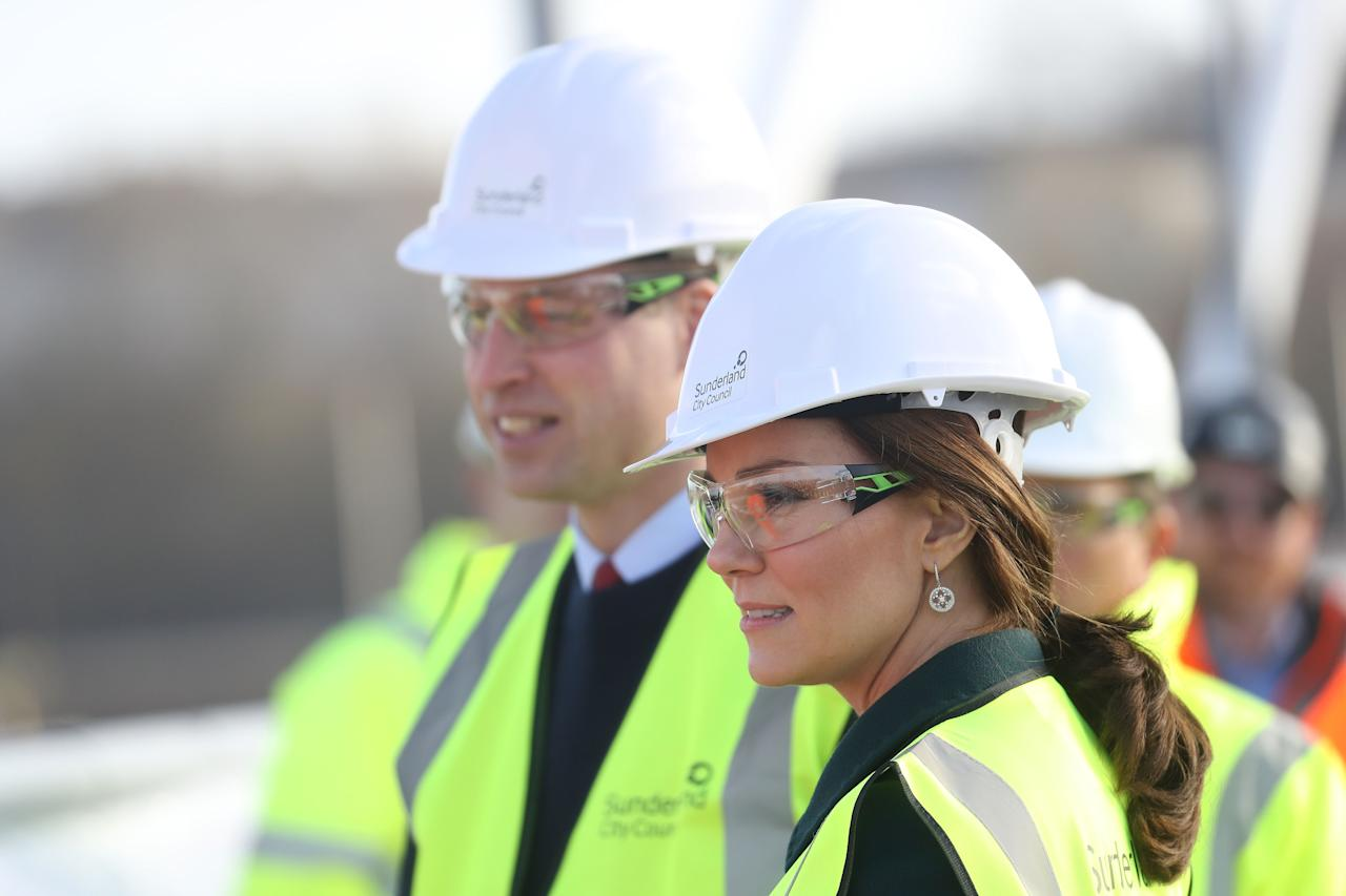 A royal's work never stops — even while pregnant. The Duchess of Cambridge accompanied Prince William to a construction site this week.
