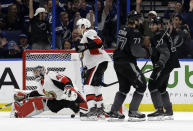 Tampa Bay Lightning defenseman Victor Hedman (77) celebrates his goal past Ottawa Senators goaltender Craig Anderson (41) with left wing Alex Killorn (17) during the first period of an NHL hockey game Saturday, March 2, 2019, in Tampa, Fla. (AP Photo/Chris O'Meara)