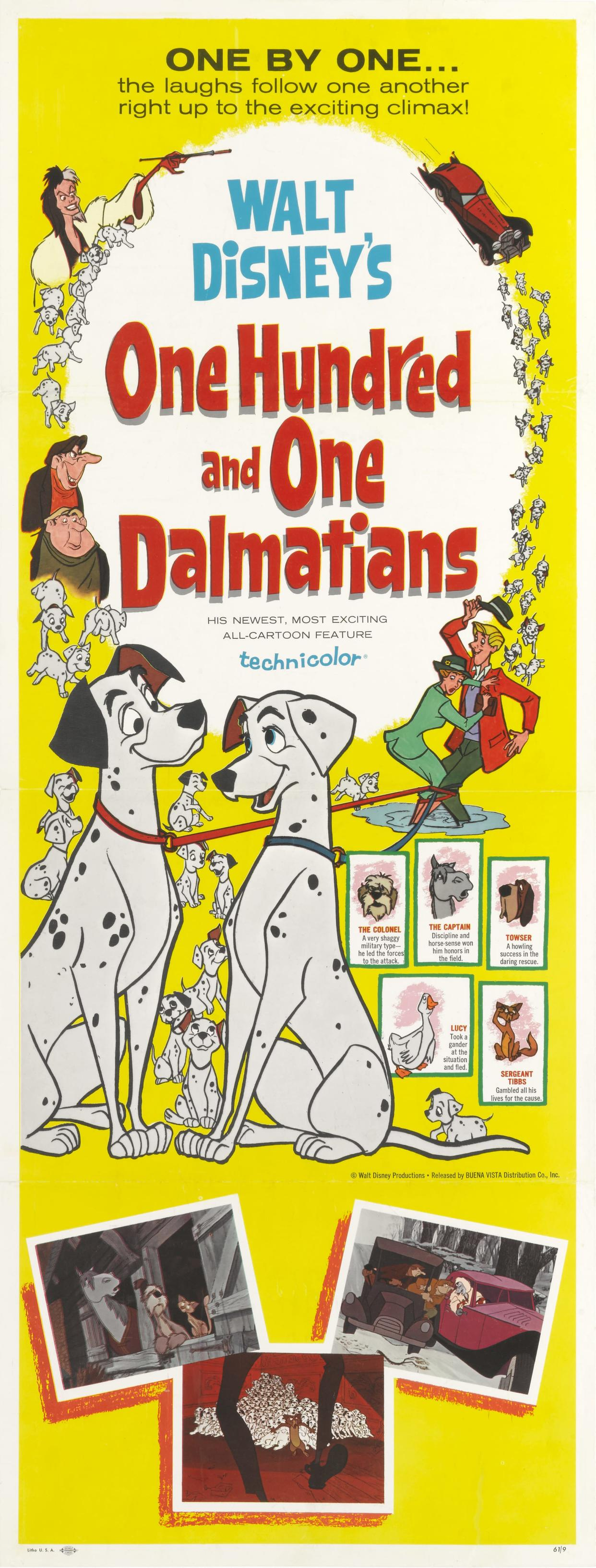 A poster for the Walt Disney movie '101 Dalmatians' ('One Hundred and One Dalmatians'), 1961.  (Photo by Movie Poster Image Art/Getty Images)