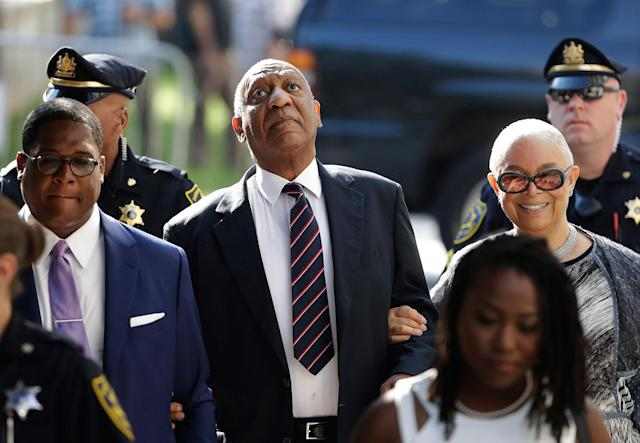 <p>Bill Cosby arrives for his sexual assault trial with his wife Camille Cosby, right, at the Montgomery County Courthouse in Norristown, Pa., Monday, June 12, 2017. (Photo: Matt Rourke/AP) </p>