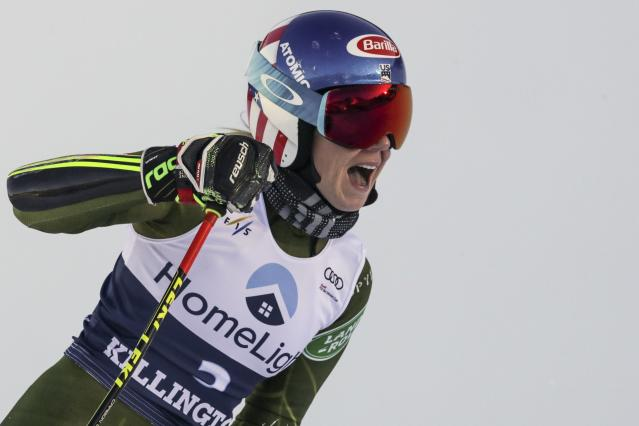 United States' Mikaela Shiffrin gets to the finish area after completing an alpine ski, women's World Cup giant slalom in Killington, Vt., Saturday, Nov. 30, 2019. (AP Photo/Charles Krupa)