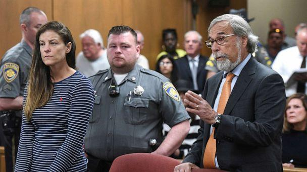 PHOTO: Attorney Andrew Bowman, right, speaks during the arraignment of his client Michelle C. Troconis, left, on charges of tampering with or fabricating physical evidence and first-degree hindering prosecution in court in Norwalk, Conn., June 3, 2019. (Tyler Sizemore/Pool via AP)