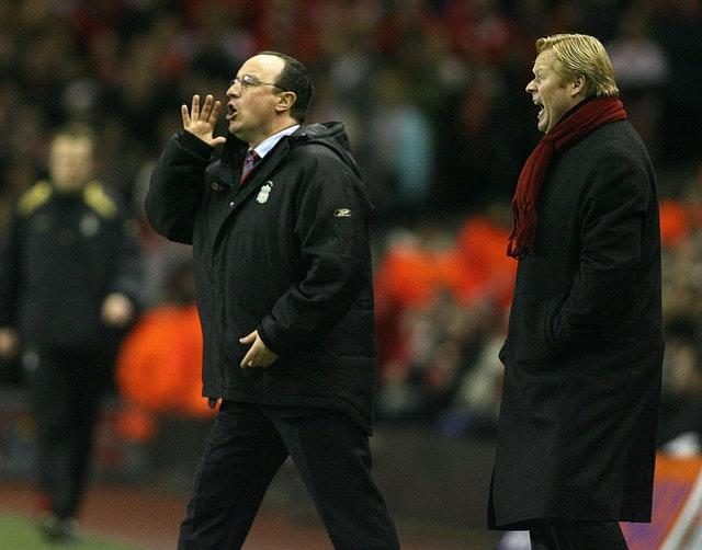 Ronald Koeman, right, defeated Rafael Benitez's Liverpool with Benfica during the 2005-06 Champions League