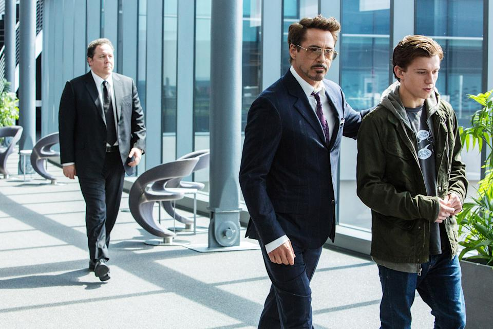 Jon Favreau, Downey and Holland in happier times in 'Spider-Man: Homecoming' (Photo: Chuck Zlotnick/ © Columbia Pictures / Courtesy Everett Collection)