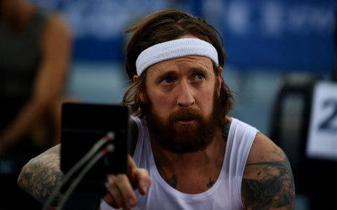 Bradley Wiggins during the Open Men 2km Ht4 (2000m) during the British Indoor Rowing Championships - Credit: PA