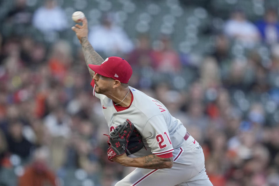 Philadelphia Phillies starting pitcher Vince Velasquez hrows to a San Francisco Giants during the first inning of a baseball game Friday, June 18, 2021, in San Francisco. (AP Photo/Tony Avelar)