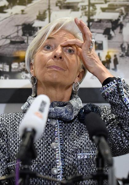 """IMF chief Christine Lagarde, speaking in Brussels on February 12, 2015 says the Ukraine rescue plan could be a """"turning point"""" for Kiev (AFP Photo/John Thys)"""