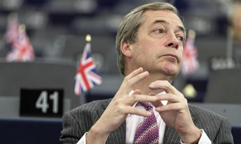 Nigel Farage listens to speeches at the European parliament in Strasbourg