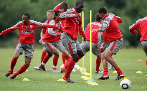 Frank Nouble in training with England Under-19s in 2010 - Credit: Getty images