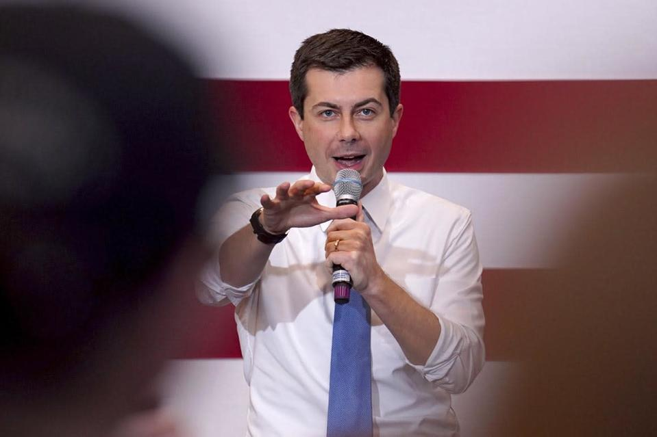 Democratic presidential candidate and former South Bend, Ind., Mayor Pete Buttigieg speaks at a campaigns stop, Saturday, Jan. 4, 2020, in Nashua, N.H. (AP Photo/Mary Schwalm)