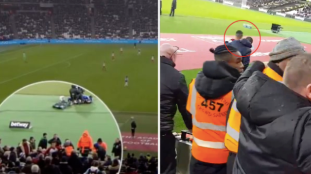 West Brom midfielder clashed with a West Ham fan during the game
