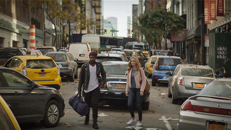 Best thing about the end of the world? You can park anywhere. Just ask Larry Underwood (Jovan Adepo) and Rita Blakemoor (Heather Graham). Photo: Amazon Prime Video