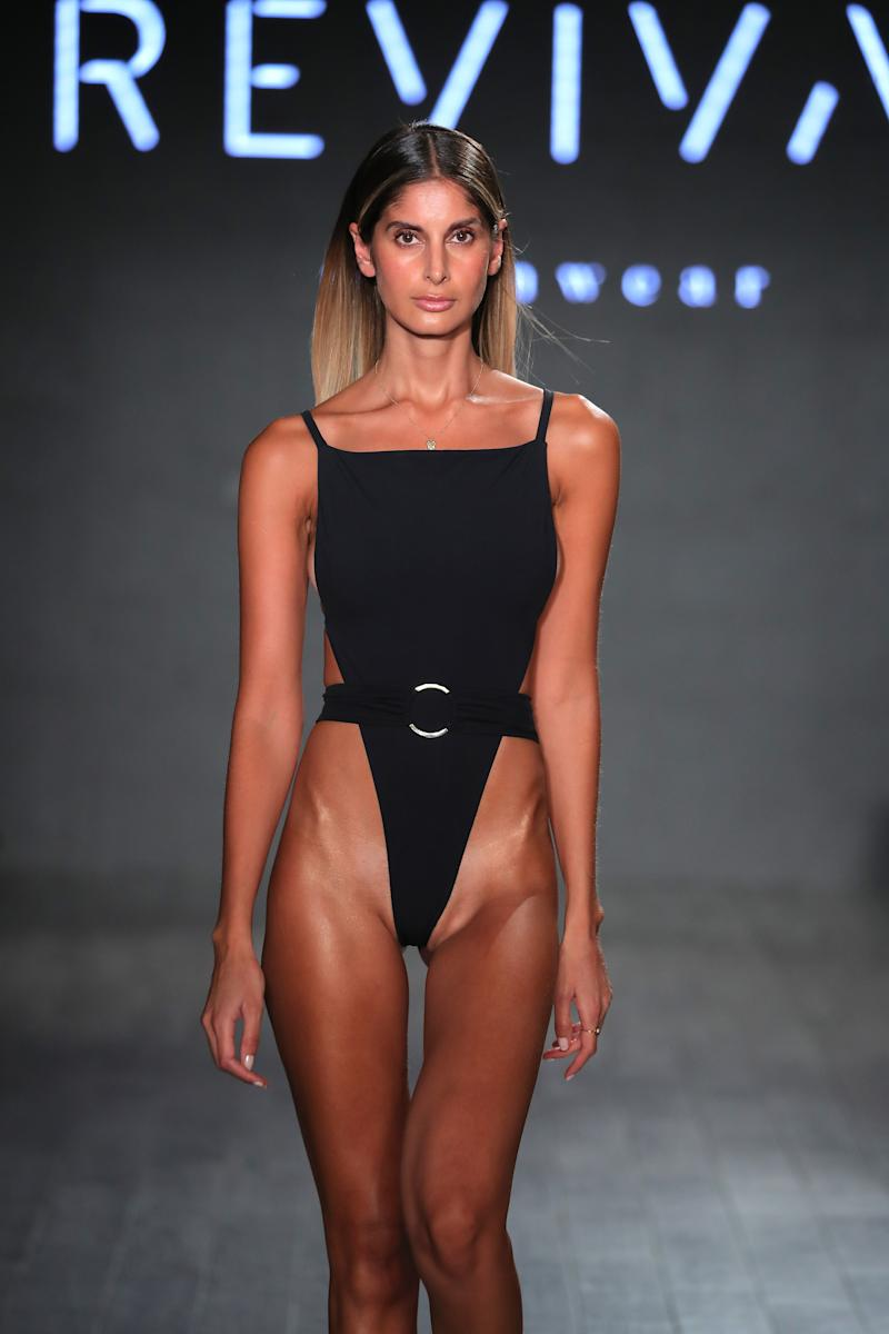 Model wearing extreme swimsuit at New York Fashion Week