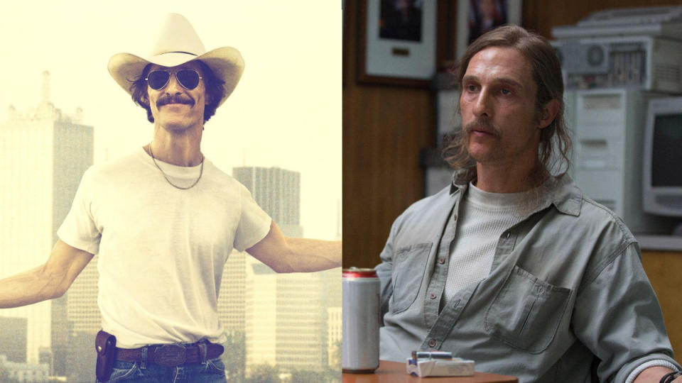 Matthew McConaughey in 'Dallas Buyers Club' and 'True Detective'. (Credit: Focus Features/HBO)