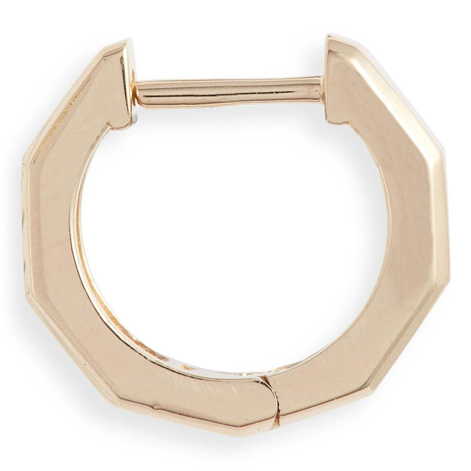 "<p>You could wear this yellow gold huggie on its own or with a full ear of jewelry. It has subtle geometric details to give the basic hoop a little something extra.</p> <p><strong>To buy</strong>: $104; <a href=""https://click.linksynergy.com/deeplink?id=93xLBvPhAeE&mid=1237&murl=http%3A%2F%2Fshop.nordstrom.com%2Fs%2Falli-webb-x-maya-brenner-faceted-huggie-hoop-earring%2F5589183%2Ffull&u1=RS%2CTheseEarringsAreComfortableEnoughtoSleepIn%2Cjmastrop%2CJEW%2CIMA%2C696524%2C202003%2CI"" target=""_blank"">nordstrom.com</a>.</p>"