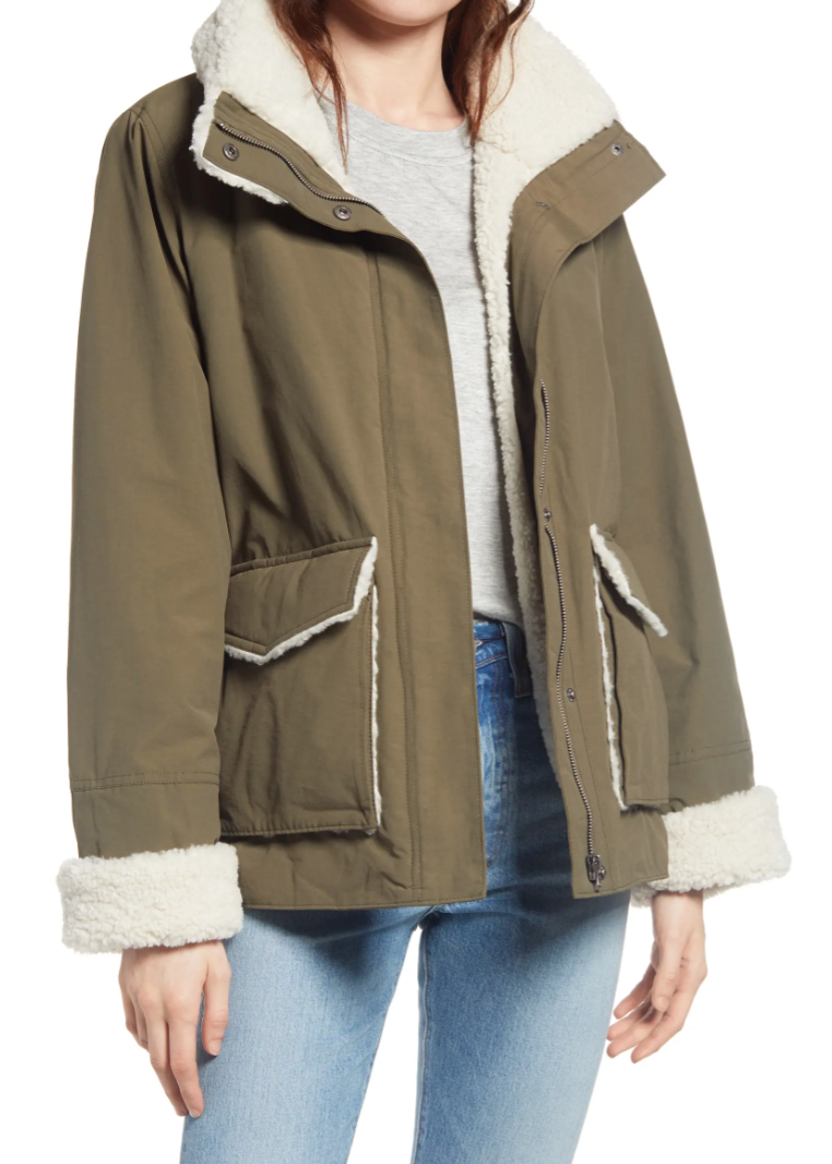 Thread & Supply Faux Shearling & Cotton Blend Barn Jacket in Dark Olive