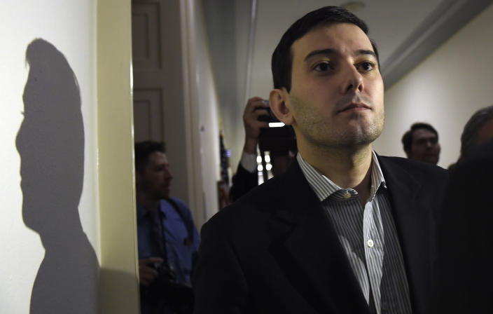 FILE - This Thursday, Feb. 4, 2016, file photo shows pharmaceutical chief Martin Shkreli following his appearance on Capitol Hill in Washington before the House Committee on Oversight and Reform Committee. An unreleased Wu-Tang Clan album forfeited by Shkreli after his securities fraud conviction was sold Tuesday, July 27, 2021, for an undisclosed sum, though prosecutors say it was enough to fully satisfy the rest of what he owed on a $7.4 million forfeiture order he faced after his 2018 sentencing. (AP Photo/Susan Walsh, File)