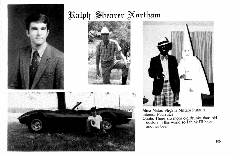 A 1984 yearbook page for Gov. Ralph Northam shows two men in racist garb, though it's unclear which of the men is Northam.  (Eastern Virginia Medical School)