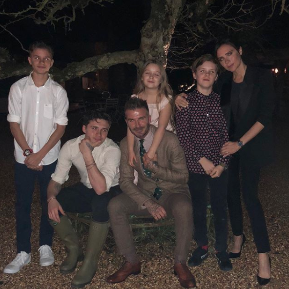 The whole Beckham clan posed for a photo together which David posted to Instagram, wishing his wife a 'Happy Mother's Day'. Source: Instagram / davidbeckham