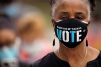 FILE PHOTO: First day of in-person early voting for the general elections in Durham, North Carolina