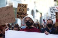 People protest against imposing further restrictions on abortion law in Lodz
