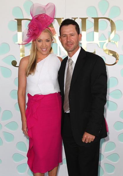 MELBOURNE, AUSTRALIA - OCTOBER 20:  Australian cricketer Ricky Ponting and his wife Rihanna Ponting attend Caulfield Cup Day at Caulfield Racecourse on October 20, 2012 in Melbourne, Australia.  (Photo by Graham Denholm/Getty Images)
