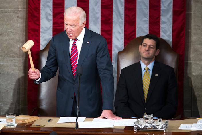 Vice President Joe Biden declares that Congress certifies Donald Trump's presidential victory during a joint session of Congress on Jan. 6, 2017.