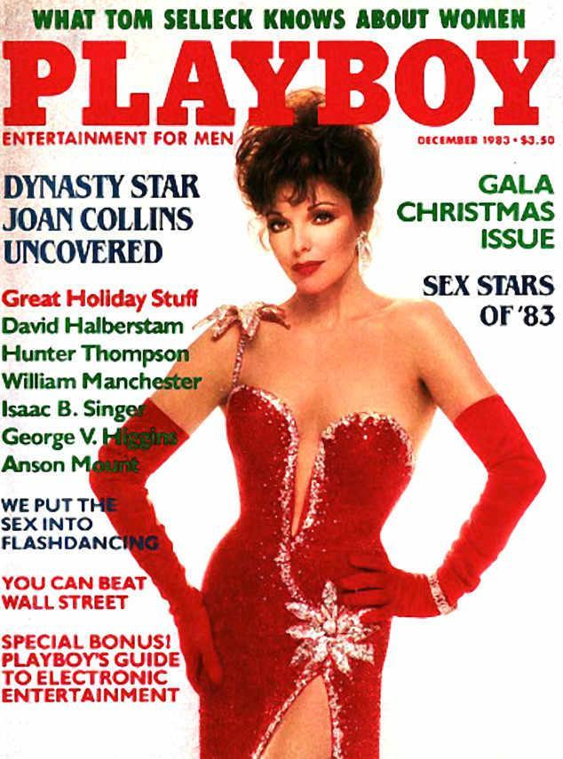 """<p>""""Dynasty"""" star Joan Collins was another star who appeared fully clothed in the '80s. Wearing a glamorous (but admittedly skimpy) red gown, she was the ideal person to front the 1983 Christmas issue. (Photo: Playboy) </p>"""
