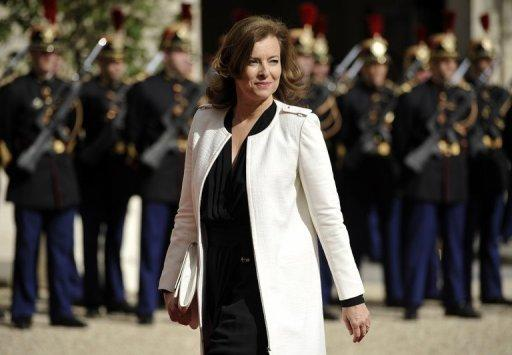 Valerie Trierweiler, the companion of French president Francois Hollande, arrives at the Elysee Palace in Paris. Hollande has been sworn in as French president at a solemn ceremony overshadowed by the catastrophic debt crisis threatening to unravel the eurozone