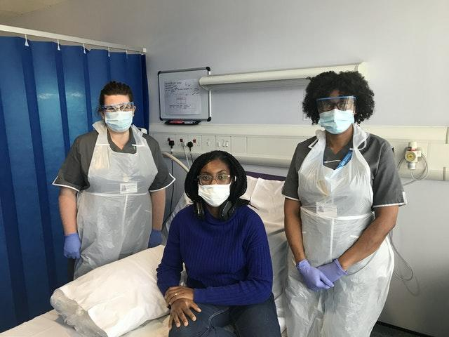 Minister for Equalities Kemi Badenoch receiving her first vaccination as part of the Novavax Phase 3 trial, which she is taking part in at Guy's and St Thomas' NHS Foundation Trust, London