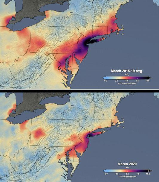 PHOTO: These images show satellite data of nitrogen dioxide from the Aura Ozone Monitoring Instrument (OMI) over the Northeast United States in March, comparing the mean of the period from 2015 through 2019 with the mean for 2020.  (NASA's Scientific Visualization Studio)