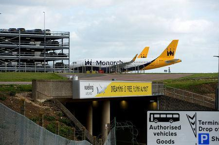 Two grounded Monarch aircraft after the airline ceased trading, at Luton airport, Britain October 2, 2017. REUTERS/Mary Turner