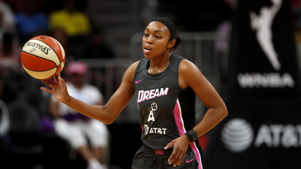 Atlanta Dream guard Renee Montgomery (21) cases the ball in the first half of a WNBA basketball game against the Chicago Sky Tuesday, Aug. 20, 2019, in Atlanta. (AP Photo/John Bazemore)