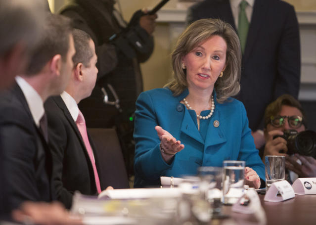 Comstock participates in a law enforcement roundtable on MS-13 hosted by President Trump at the White House in February. (Photo: Chris Kleponis-Pool/Getty Images)