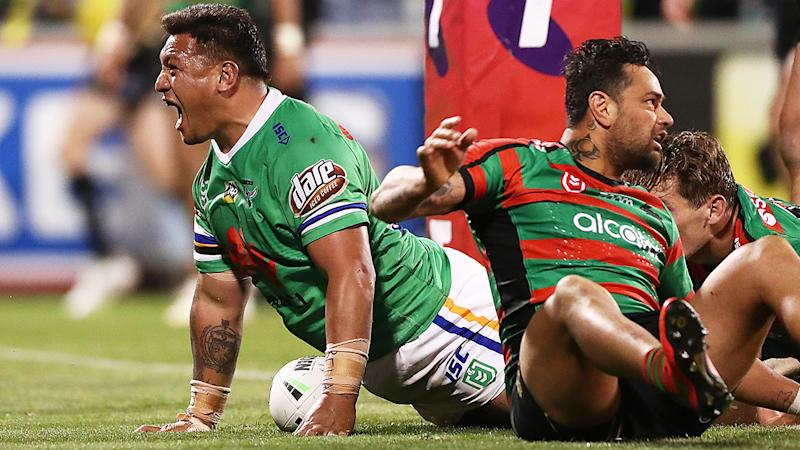 Josh Papalii of the Raiders celebrates scoring a try during the NRL Preliminary Final match between the Canberra Raiders and the South Sydney Rabbitohs at GIO Stadium on September 27, 2019 in Canberra, Australia. (Photo by Mark Metcalfe/Getty Images)