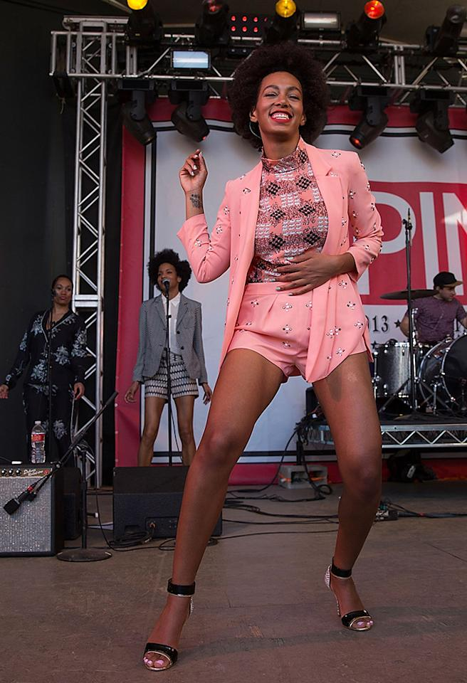 AUSTIN, TX - MARCH 15:  Singer-songwriter Solange performs onstage during the annual SPIN at Stubbs concert on March 15, 2013 in Austin, Texas.  (Photo by Rick Kern/WireImage)