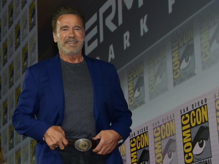 """Actor Arnold Schwarzenegger explained he is """"addicted"""" to the franchise as he returns for """"Terminator: Dark Fate"""" in a panel in Hall H of Comic Con in San Diego (AFP Photo/Chris Delmas)"""