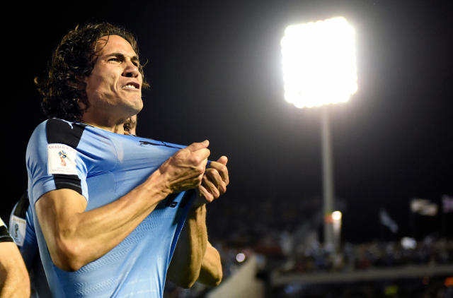 FILE - In this Tuesday, Oct. 10, 2017 file photo, Uruguay's Edinson Cavani celebrates after scoring against Bolivia during a 2018 World Cup qualifying soccer match in Montevideo, Uruguay. (AP Photo/Matilde Campodonico, File)