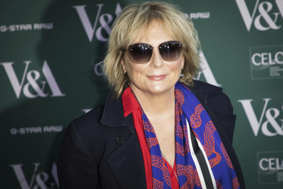 Comedian Jennifer Saunders poses for photographers upon arrival at the preview of the exhibition 'Fashioned from Nature' at the Victoria and Albert Museum, in London, Wednesday, Apr. 18, 2018. (Photo by Vianney Le Caer/Invision/AP)