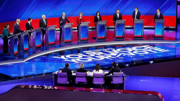 PHOTO: Democratic presidential candidates appear at the third Democratic Presidential Debate of the 2020 campaign season in Houston, Sept. 13, 2019. (Heidi Gutman/Walt Disney Television)
